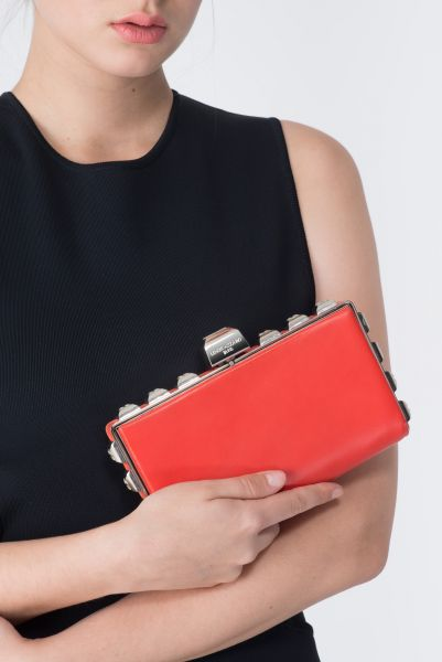 Clutch cuir rouge