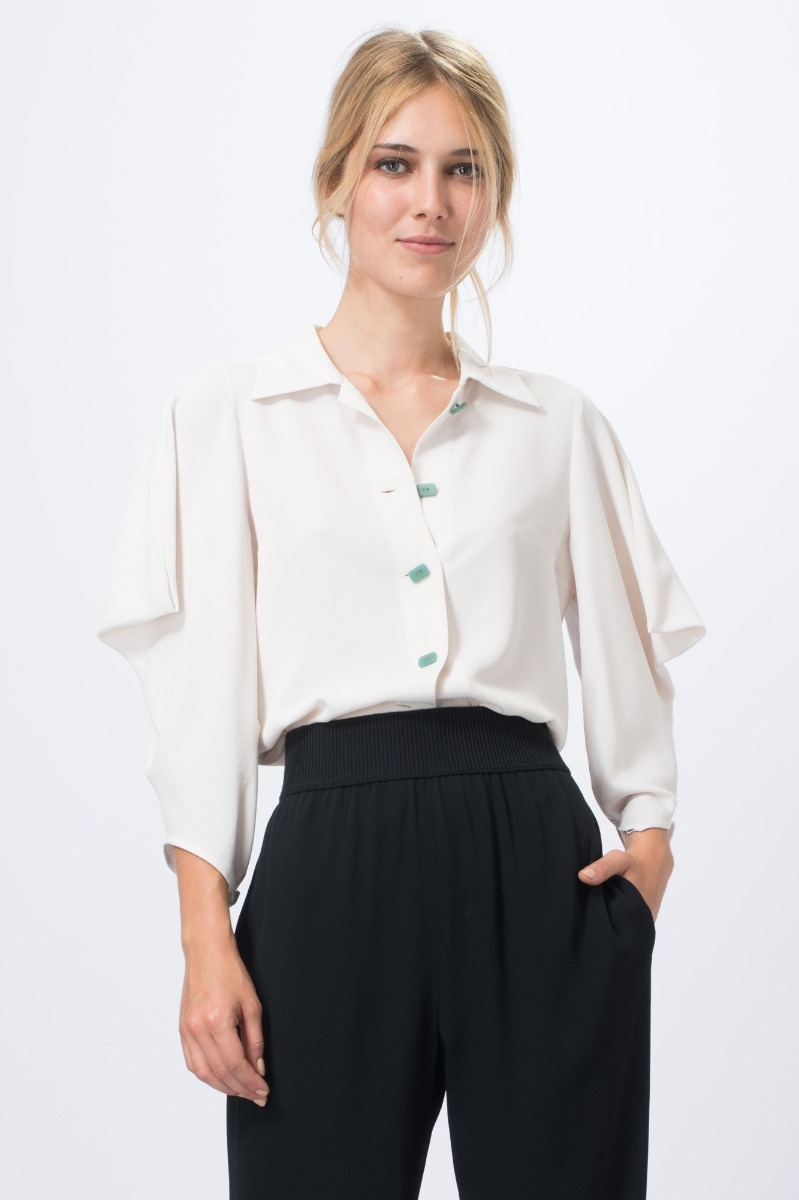 location blouse manches 3 4 blanche - dress code